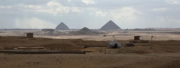 A view of Dahsur from Saqqara