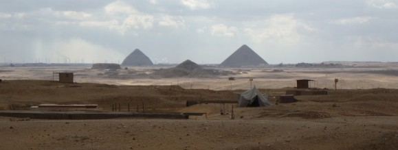 A view of Dahsur from Saqqara